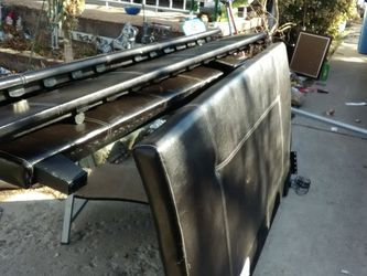 Black Leather Bed Frame Complete for Sale in Magna,  UT