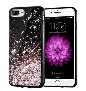 iPhone 6/7/8 plus bumper CASE ONLY! Pink silver Rose gold Liquid moving glitter for Sale in Parma Heights, OH