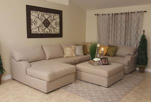 New living spaces neutral sectional sofa set with ottoman for Sale in San Diego, CA