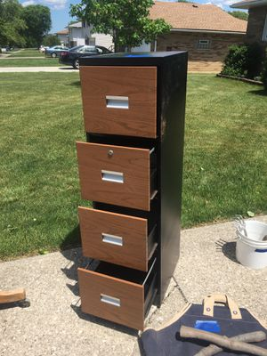 4 drawer file cabinet (black and woodgrain) for Sale in Parma, OH