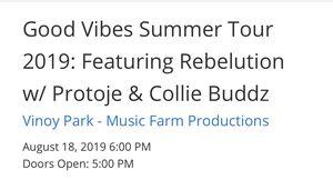 Rebelution/Collie Buddz ticket 8/18 Vinoy park for Sale in Madeira Beach, FL