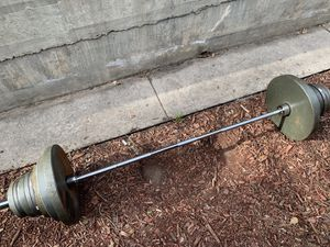 Olympic Weightlifting Set - plates, Olympic bar, ez curl bar, weight tree, clamps for Sale in Denver, CO