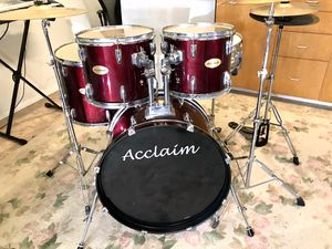 Acclaim 5 piece drum set Meinl cymbals hihat bass pedal Hydraulic throne in good condition $240 in Ontario 91762 for Sale in Ontario, CA