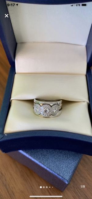 Platinum Tiffany & Co. Diamond Wedding Engagement Ring size 6.5 with custom bands for Sale in San Diego, CA