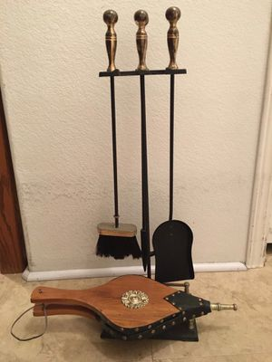 Vintage Fireplace Tools & Hardwood Bellows for Sale in Huntington Beach, CA