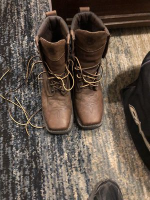 Justin steel toe work boots worn once for Sale in Peoria, AZ