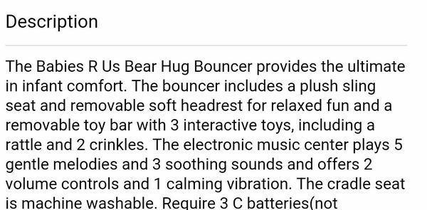 331790b55ab5   PRICE REDUCTION   Baby Trend Babies R Us Bear Hug Bouncer With Vibration  and Music for Sale in El Cajon