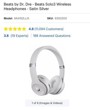 Beats by Dr. Dre - Beats Solo3 Wireless Headphones - Satin Silver - $190 for Sale in Quincy, MA
