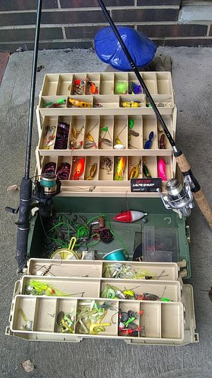 Fishing tackle and 2 rods for Sale in Olmsted Falls, OH