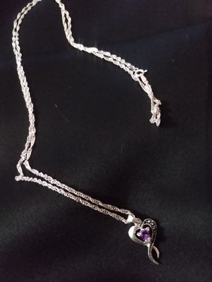 Silver necklace w/purple stone heart charm for Sale in Pittsburg, CA