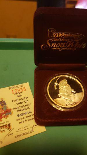 1987 Disneys Snow Whites Dwarf 'BASHFUL' 1oz Silver Round w Box & COA! for Sale in Lewistown, PA