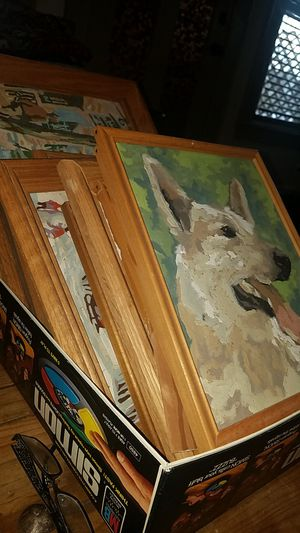 Box of color by number paintings 12 of them with their original frames collectible for Sale in Syracuse, NY
