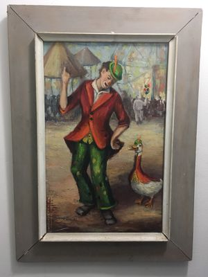 1965 original oil painting of Clown and Duck Clown **see description** for Sale in Margate, FL