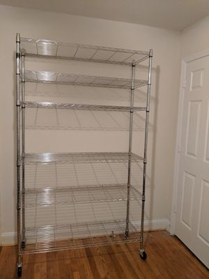 """Metal Heavy Duty Height Adjustable Commercial Grade Garage Storage Shelves, 82""""x48""""x18"""", Chrome for Sale in Silver Spring, MD"""
