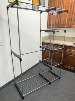 NEW 45x20x68 Inches Tall 2 Hanging Tier Bars Clothes Jackets Coat Shoe Organizer Garment Wardrobe Rack Shelf for Sale in Whittier,  CA