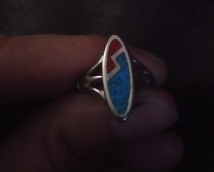 Ladies 925 silver turquoise and coral ring for Sale in Junction City, OR