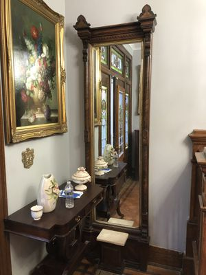 Antique mirror wood craft. With marble for Sale in Baltimore, MD