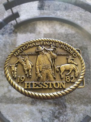 Collectibles..L@@K!! 1982 HESSTON NFR National Finals Rodeo Western Brass Belt Buckle.nice.. for Sale in Lincoln Acres, CA