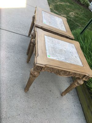 Ashley furniture marble end tables wood for Sale in Manassas, VA