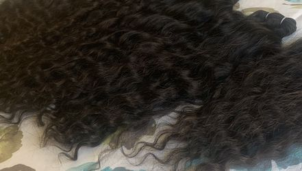 100% Indian Curly human hair; (5pcs Set- 4 Bundles W/ HD Transparent Lace closure) for Sale in Canton,  MA