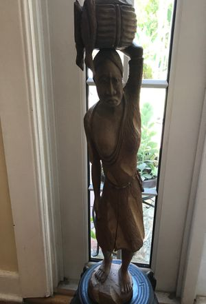 Large 31 inch tall hand carved custom-made woman carrying basket with fish statue for Sale in West Palm Beach, FL