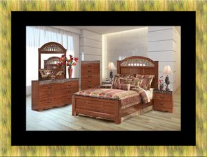 11pc Ashley cherry bedroom set with mattress for Sale in Crofton, MD