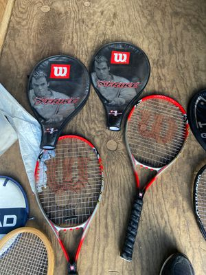 Wilson soft shock graphite tennis racket set of 2 with Wilson strike head covers for Sale in Gresham, OR