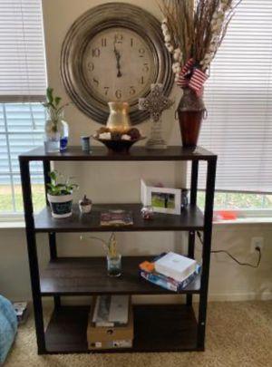 New!! Bookcase, bookshelves, organizer, metal frame 4 wood shelves bookcase, storage unit, living room furniture, entrance furniture , espresso for Sale in Phoenix, AZ