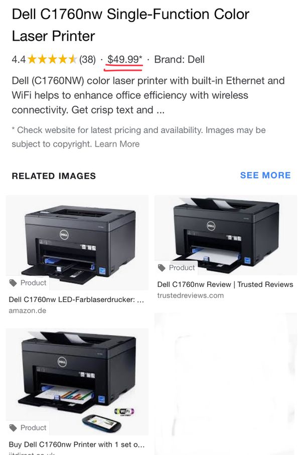 Dell C1760nw Color Printer for Sale in Philadelphia, PA - OfferUp