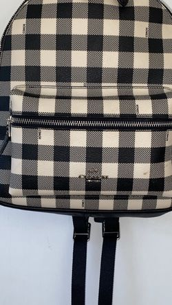 Coach Black/White Checkered Backpack with Silver Detailing for Sale in Bonny Doon,  CA