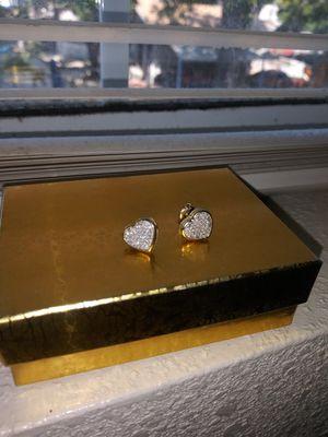Real Diamond Gold Heart Earrings for Sale in Lynwood, CA