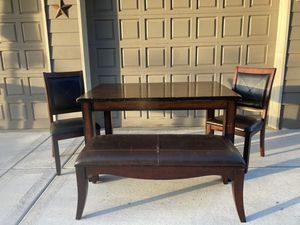 Farmhouse style wooden table with chairs and a bench for Sale in Clackamas, OR