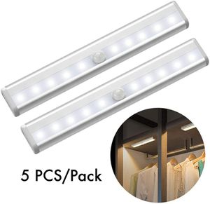 5 PCS 10 LEDs Motion Sensor Light Cupboard Wardrobe Bed Lamp LED Under Cabinet Night Light for Closet Stairs Kitchen for Sale in Ontario, CA