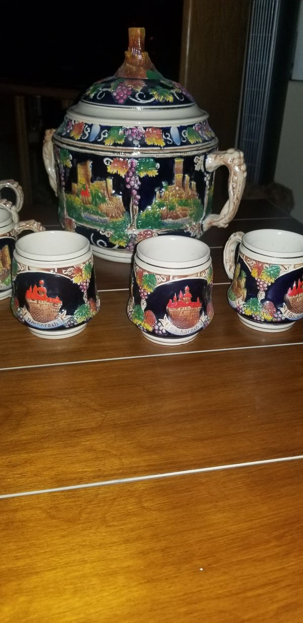 Vintage German Stoneware 4L Castles Wine, Punch Bowl and 6 Stein Mugs.
