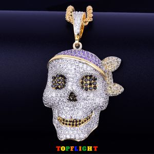 Platinum Silver & Solid Gold Pirate Skull Pendant Necklace Personality Chain Iced Out for Sale in Pittsburgh, PA