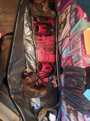 Neversummer Evo 155 snowboard, Red Helmet, Oakly Google's, Burton Freestyle Boots, K2 Indy Bindings, Dakine Bag for Sale in Monroe, NC