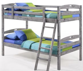 BRAND NEW SOLID WOOD TWIN SIZE RUSTIC GRAY FINISH BUNKBED FREE PLEASE SEE DESCRIPTION FOR ADDITIONAL SAVINGS. for Sale in Vancouver,  WA