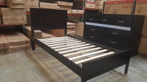Twin Wood Platform Bed with Headboard, Cappuccino for Sale in Santa Ana, CA