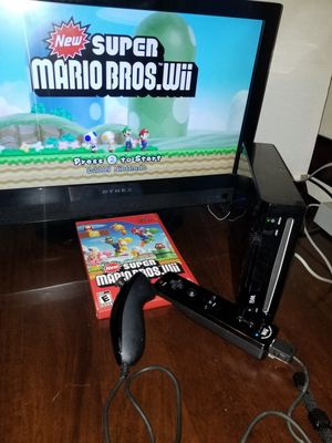 Nintendo Wii black w/Mario game for Sale in Brooklyn Park, MD
