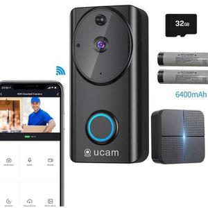 Video Doorbell Wireless Wi-fi with Chime, Doorbell Camera with Motion Detector, 6400mAh Low Power Consumption, 2-Way Audio,1080P Night Vision, IP65 Wa for Sale in Upland, CA