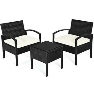Patio Rattan Furniture Set Sofa With Cushioned Garden Table - 3 Pieces for Sale in Dade City, FL
