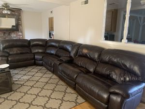 Ashley Furniture 6-Piece Reclining Sectional with Chaise and Power. Dark Brown for Sale in Sacramento, CA