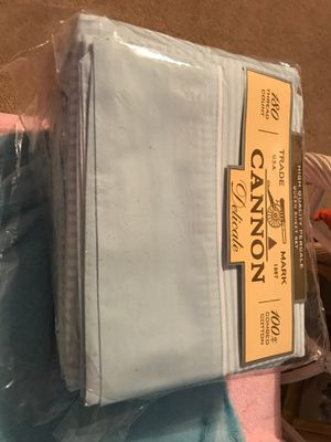 Queen sheets. Brand new. 180 count light blue with stripes for Sale in Davenport, FL