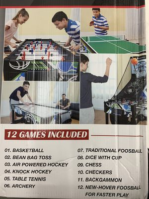 NEW Ping Pong Table Tennis / Electric Air Hockey / Electronic Foosball / Backgammon / Chess / Basketball Arcade, Knock Hockey Game Set for Sale in Las Vegas, NV