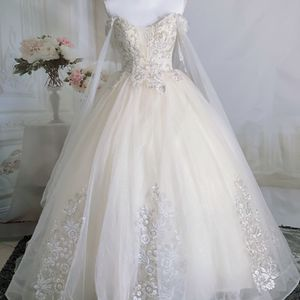 Light LCream Shimmering Off The Shoulder Princess Wedding Dress With Cape/ Quinceanera&Sweet 16 Dress for Sale in Fort Lauderdale, FL
