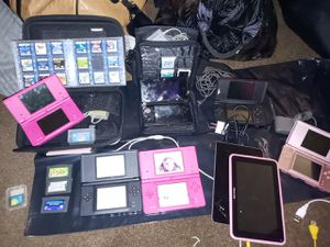 Different Nintendo DS devices including games an original chords also two tablets with cords for Sale in Cathedral City, CA