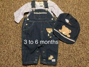 Baby boy carters 3 to 6 months overalls Teddy with matching bib for Sale in Queens, NY
