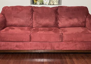 Ashley Furniture Red Polyester 3-Seat Couch w/ Wood Trim for Sale in West Linn,  OR