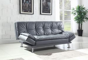 Grey faux leather sofa bed futon for Sale in Miami, FL
