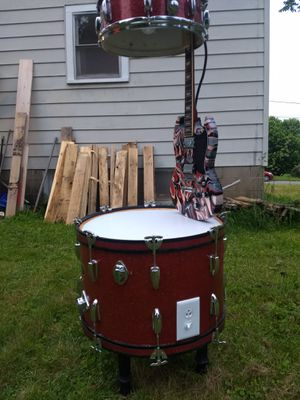 Drum guitar endtable with led lamp for Sale in Corry, PA
